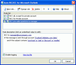 Auto BCC/CC for Outlook